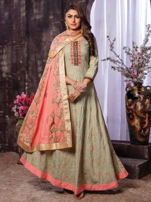 Ahista Pista Rayon Embroidered Gown Kurti With Light Pink Dupatta