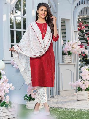 Aitbaar Red Embroidered Cotton Stylish Kurti with Dupatta and Pant Set