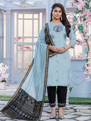 Aitbaar Sky Blue Embroidered Cotton Stylish Kurti with Dupatta and Pant Set