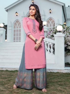 Akshara Pink Embroidered Rayon Kurta With Printed Palazzo