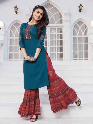 Akshara Rama Blue Embroidered Rayon Kurta With Stylish Sharara