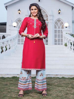 Akshara Red Embroidered Rayon Kurta With Printed Palazzo
