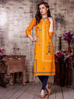 Albeli light Orange Rayon Printed Straight Kurti