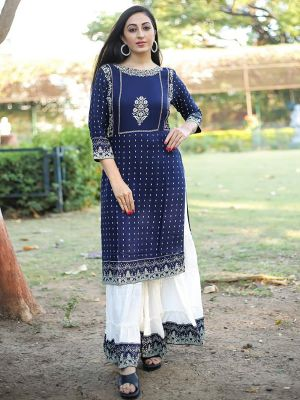 Apsara Navy Blue Rayon Printed Kurta With White Fancy Palazzo