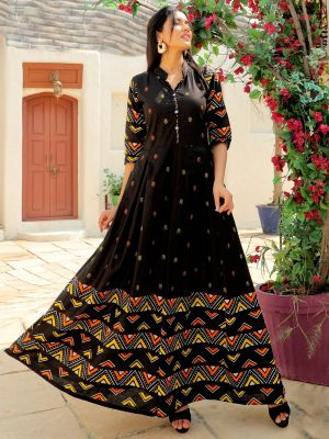 Aradhana Black Cotton Printed Kurti