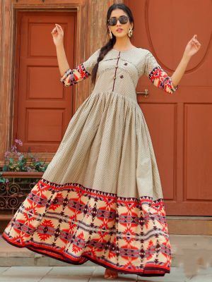 Aradhana Cream Cotton Print & Work Kurti