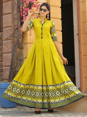 Aradhana Lime Green Cotton Print & Work Kurti