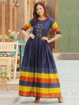 Aradhana Navy Blue Cotton Print & Work Kurti