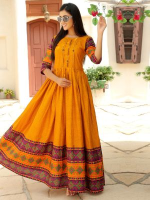 Aradhana Orange Cotton Print & Work Kurti