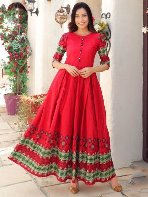 Aradhana Red Cotton Print & Work Kurti