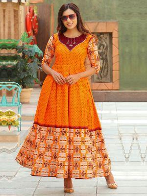 Aradhana Saffron Cotton Print & Work Kurti