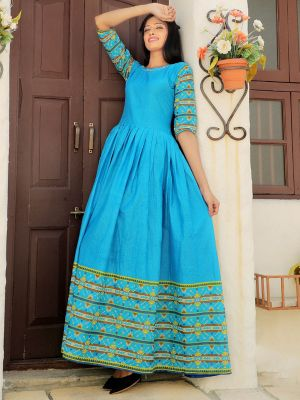 Aradhana Sky Blue Cotton Printed Kurti
