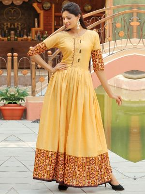 Aradhana Yellow Cotton Print & Work Kurti