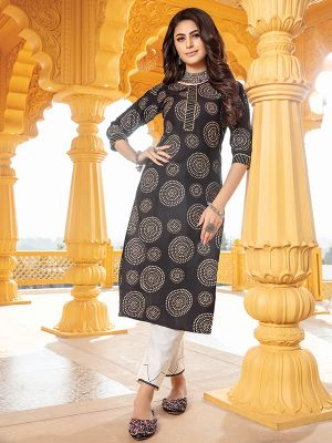 Bandhani Black Printed Stylish Kurti With Cotton Pant