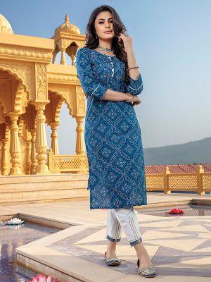 Bandhani Blue Printed Stylish Kurti With Cotton Pant