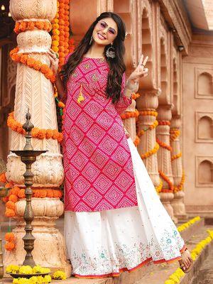Bandhani Dark Pink Rayon Embroidered Kurti With Stylish Palazzo