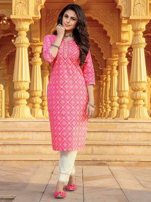 Bandhani Light Pink Printed Stylish Kurti With Cotton Pant