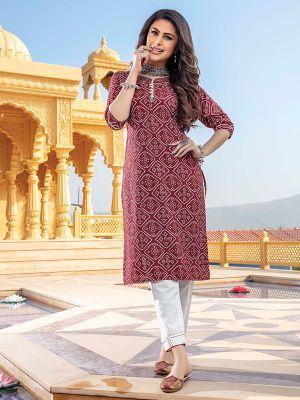 Bandhani Maroon Printed Stylish Kurti With Cotton Pant