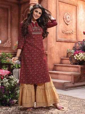 Bandhani Maroon Rayon Embroidered Kurti With Stylish Sharara