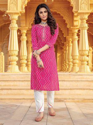 Bandhani Pink Printed Stylish Kurti With Cotton Pant