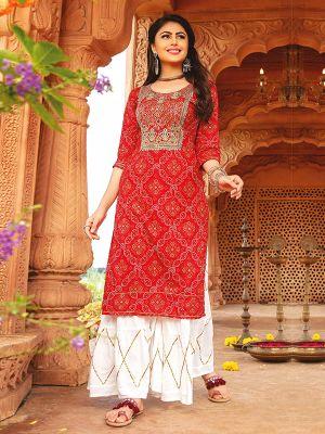 Bandhani Red Rayon Embroidered Kurti With Stylish Sharara
