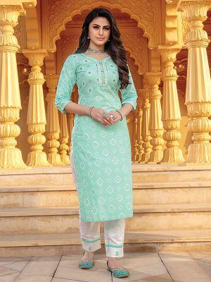 Bandhani Sea Green Printed Stylish Kurti With Cotton Pant