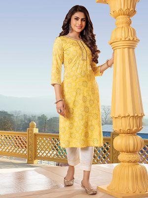 Bandhani Yellow  Printed Stylish Kurti With Cotton Pant