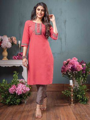 Belleza Tomato Red Rayon Kurti With Fancy Pant