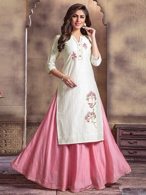 Bindia Beige Embroidered Kurti With Fancy Skirt