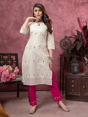 Bindia Grey Embroidered Cotton Kurti With Pant