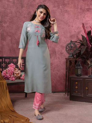 Bindia Grey Rayon Embroidered Kurti With Pant