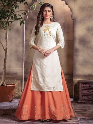 Bindia Off White Embroidered Kurti With Fancy Skirt