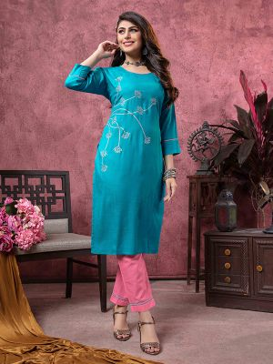 Bindia Sky Blue Embroidered Rayon Kurti With Pant