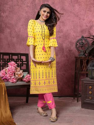 Bindia Yellow Rayon Gold Printed Kurti With Pant