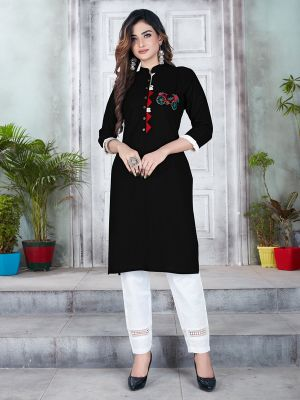 Black Designer Premium Rayon Kurti With Pant
