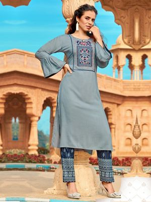 Blue-Gray Rayon Embroidered Kurti with Pant