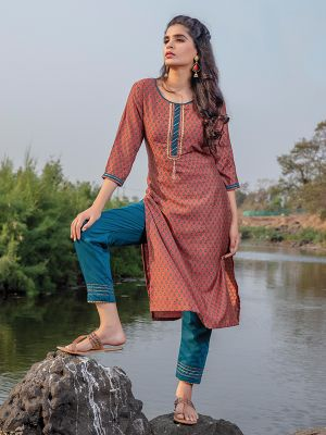 Breezy Red Maroon Rayon Printed Kurti With Stylish Pant