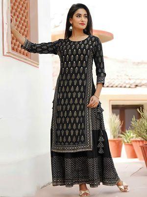 Charvi Fashion Stylish Black Gold Printed Kurti With Fancy Skirt