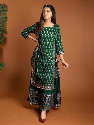 Charvi Fashion Stylish Dark Green Printed Kurti With Fancy Skirt