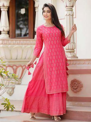 Charvi Fashion Stylish Light Pink Printed Kurti With Fancy Skirt