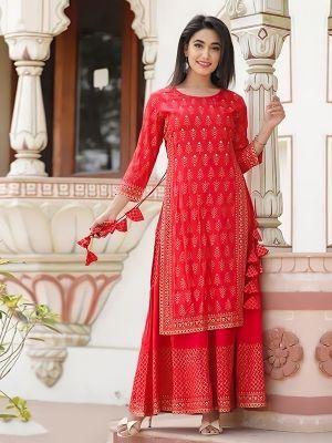 Charvi Fashion Stylish Red Printed Kurti With Fancy Skirt