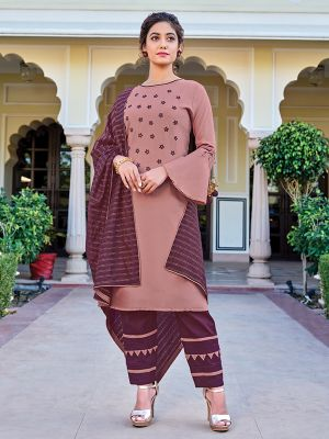 Charvi Poshak Oriental Pink Kurti With Fancy Pant & Dupatta