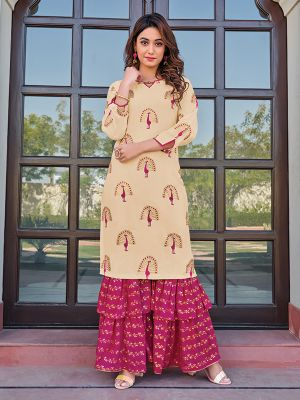 Charvi Privivah Beige Printed Kurti With Pink Layered Sharara