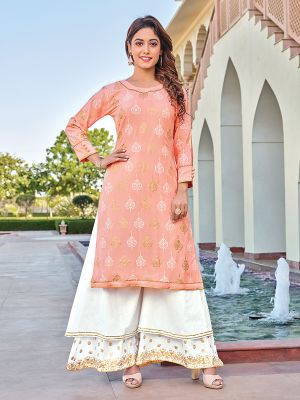 Charvi Privivah Creamy Pink Printed Kurti With Double Layered Palazzo