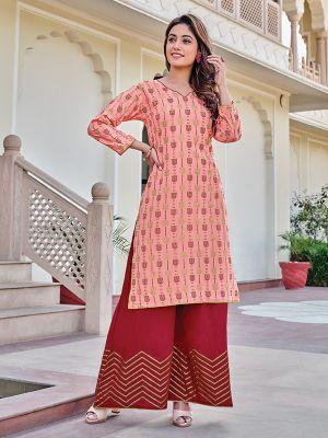 Charvi Privivah Light Pink Printed Kurti With Stylish Sharara
