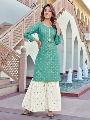 Charvi Privivah Sky Blue Printed Kurti With Stylish Sharara