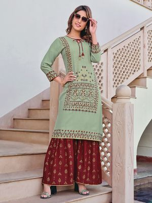 Charvi Privivah Spring Green Printed Kurti With Stylish Sharara