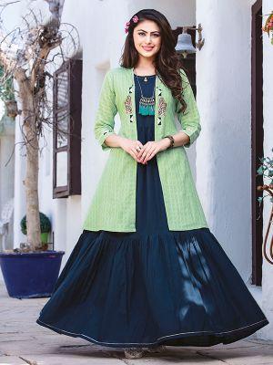 Chulbuli Dark Blue Cotton Kurti With Fancy Pista Jacket