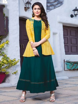 Chulbuli Dark Green Cotton Kurti With Fancy Yellow Jacket