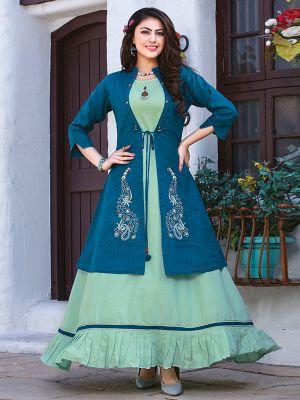 Chulbuli Light Green Cotton Kurti With Fancy Blue Jacket
